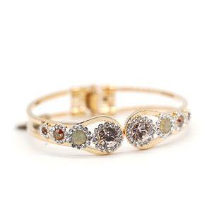 Gold Plated Steel Flower Cuff Bracelet
